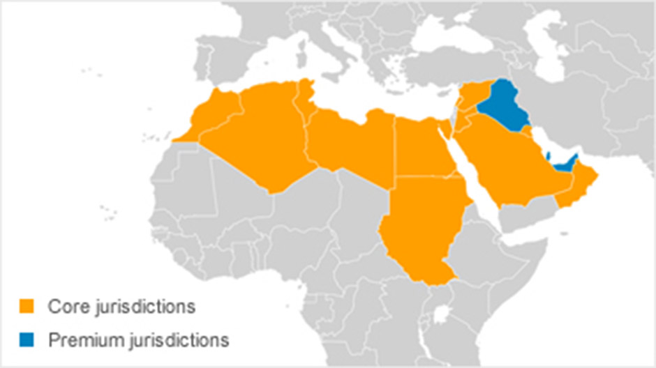 Westlaw Middle East map