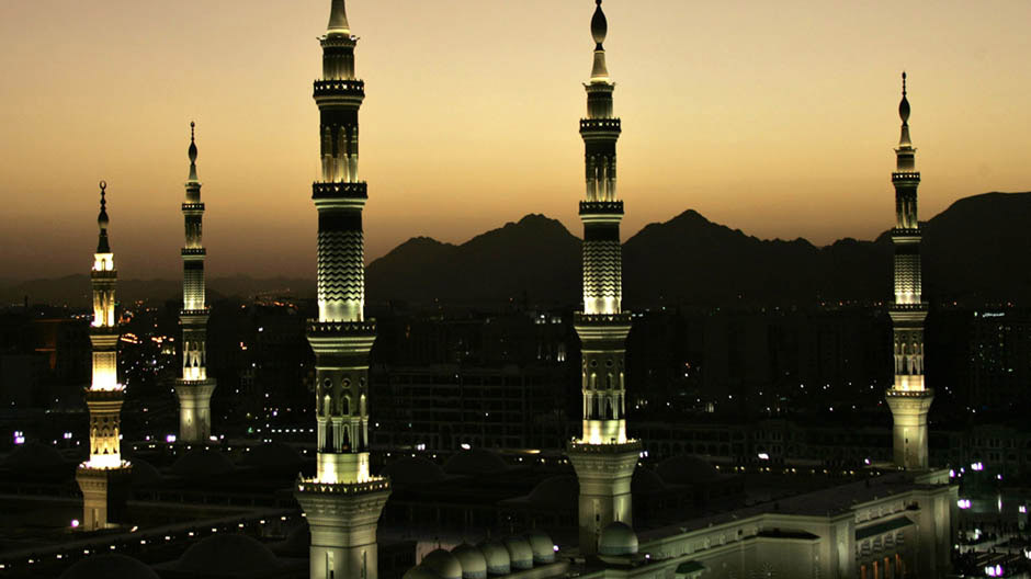 Minarets of Prophet Mohammad's Mosque in the holy city of Medina